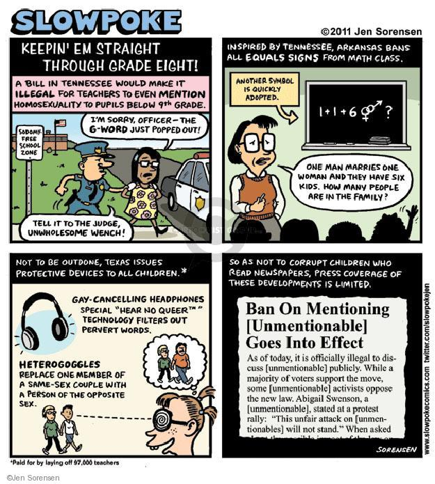 Jen Sorensen  Jen Sorensen's Editorial Cartoons 2011-07-30 censorship