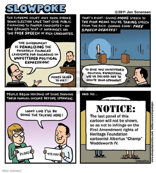 Cartoonist Jen Sorensen  Jen Sorensen's Editorial Cartoons 2011-08-22 first amendment