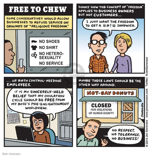 Cartoonist Jen Sorensen  Jen Sorensen's Editorial Cartoons 2014-03-03 religious freedom