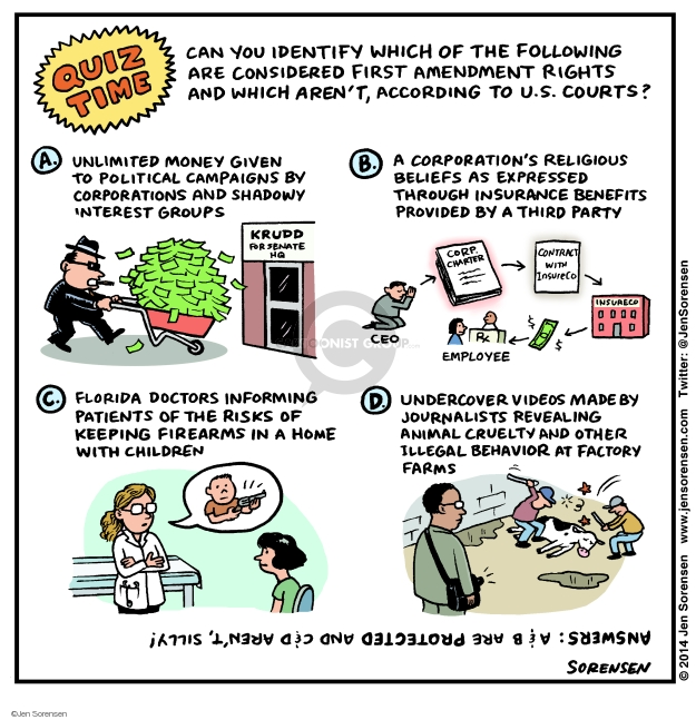 Cartoonist Jen Sorensen  Jen Sorensen's Editorial Cartoons 2014-08-03 first amendment