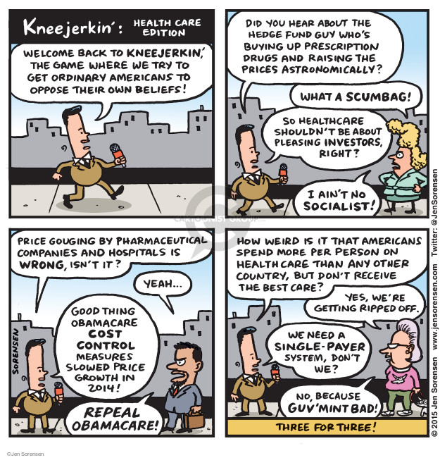 Cartoonist Jen Sorensen  Jen Sorensen's Editorial Cartoons 2015-09-29 health insurance