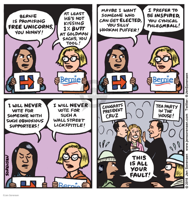 Cartoonist Jen Sorensen  Jen Sorensen's Editorial Cartoons 2016-02-08 presidential election