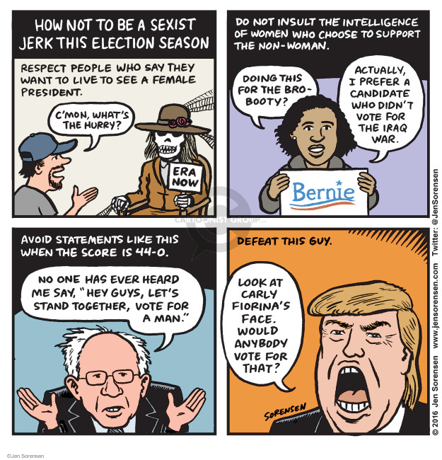 Cartoonist Jen Sorensen  Jen Sorensen's Editorial Cartoons 2016-02-22 presidential election