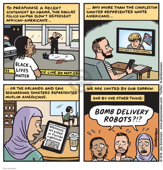 Cartoonist Jen Sorensen  Jen Sorensen's Editorial Cartoons 2016-07-11 racism
