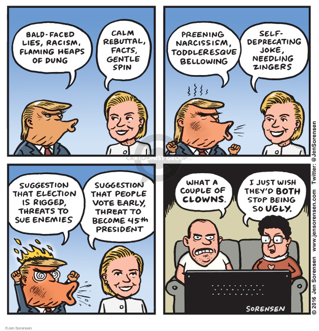 Jen Sorensen  Jen Sorensen's Editorial Cartoons 2016-10-24 2016 Republican Debate