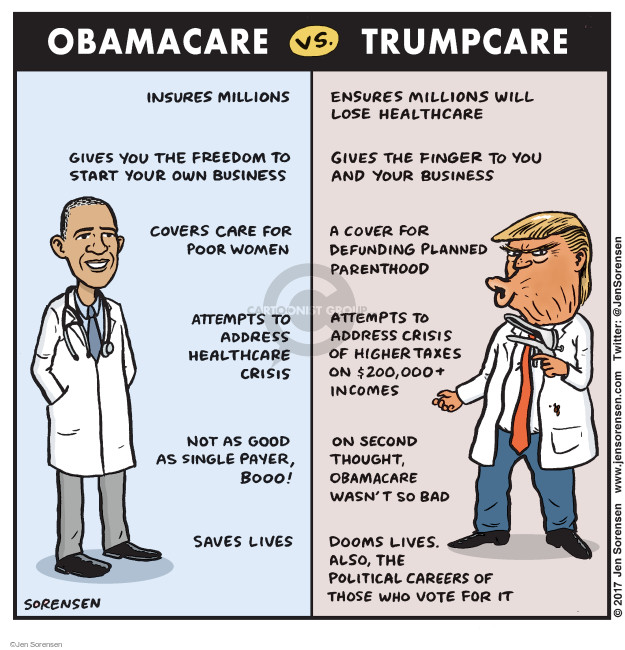Cartoonist Jen Sorensen  Jen Sorensen's Editorial Cartoons 2017-03-13 health insurance