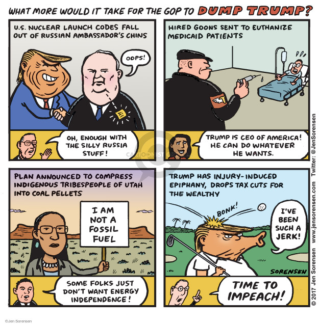 Cartoonist Jen Sorensen  Jen Sorensen's Editorial Cartoons 2017-05-15 presidential impeachment