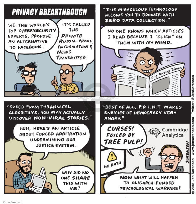 Cartoonist Jen Sorensen  Jen Sorensen's Editorial Cartoons 2018-03-27 online privacy