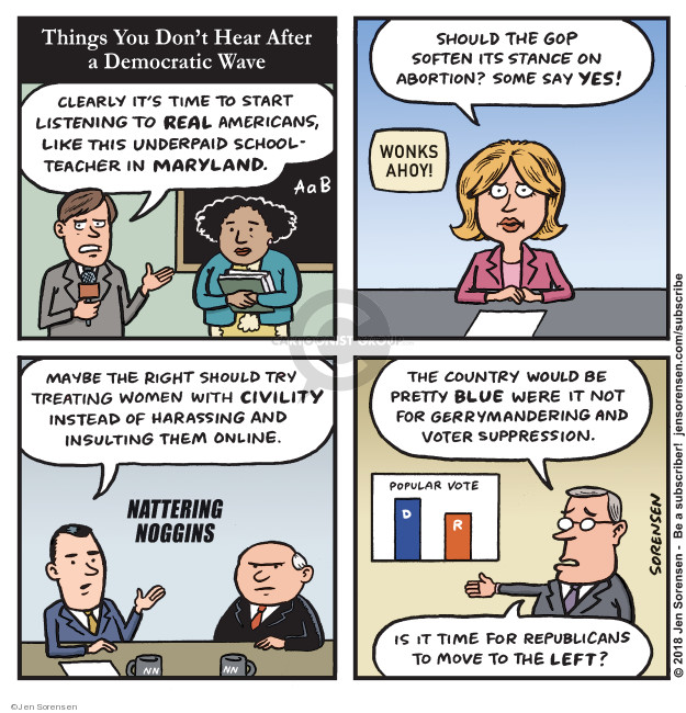 Jen Sorensen  Jen Sorensen's Editorial Cartoons 2018-11-26 midterm election