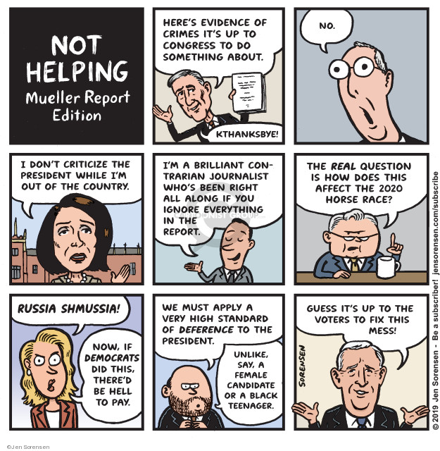 Cartoonist Jen Sorensen  Jen Sorensen's Editorial Cartoons 2019-04-22 2020 election Donald Trump