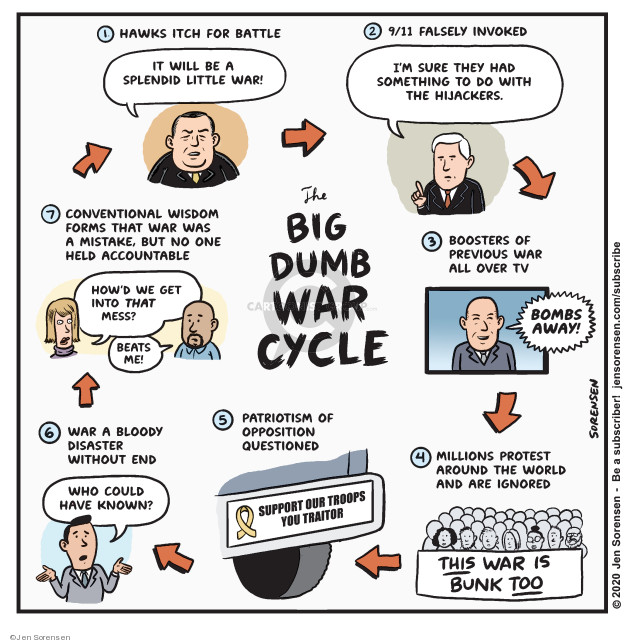 Cartoonist Jen Sorensen  Jen Sorensen's Editorial Cartoons 2020-01-06 Iraq opposition
