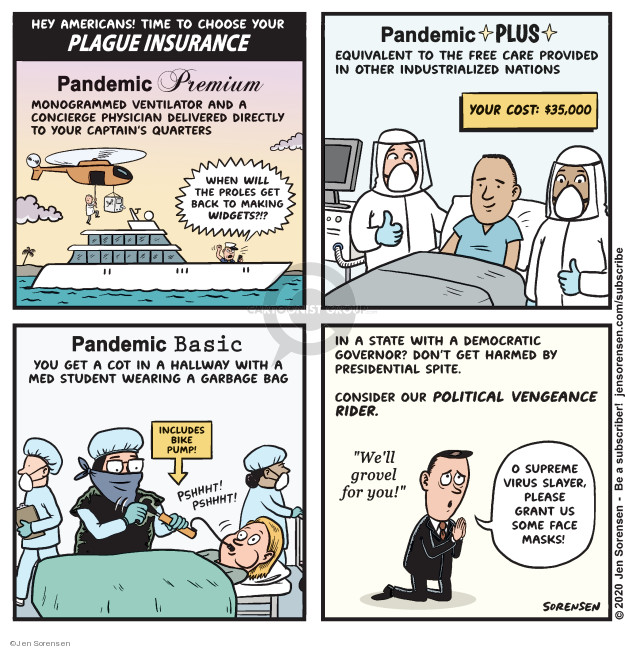 Cartoonist Jen Sorensen  Jen Sorensen's Editorial Cartoons 2020-03-31 public health insurance