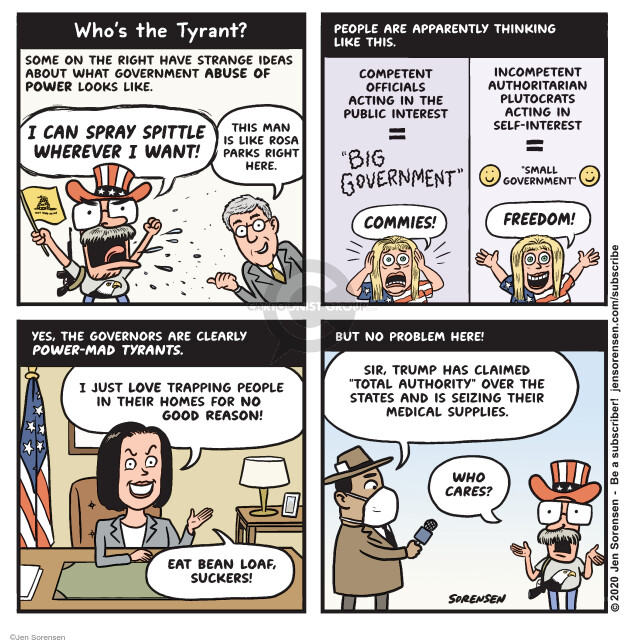 Jen Sorensen  Jen Sorensen's Editorial Cartoons 2020-04-21 abuse of power