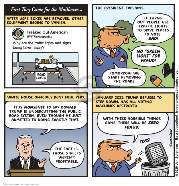 Jen Sorensen  Jen Sorensen's Editorial Cartoons 2020-08-18 voter suppression
