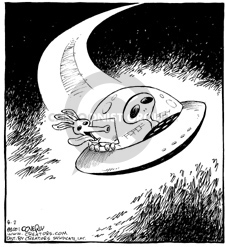 (No caption).  An alien dog sticks his head out of the window of a U.F.O. as it flies through outer space.