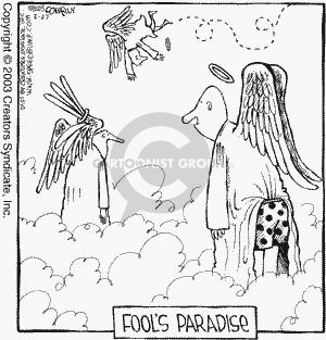 Fools Paradise.  (Clumsy angels in heaven wander or fly around.)