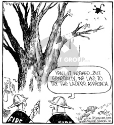Cartoonist Dave Coverly  Speed Bump 2000-04-29 fire safety