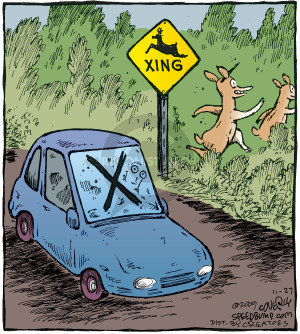 Comic Strip Dave Coverly  Speed Bump 2009-11-27 deer crossing