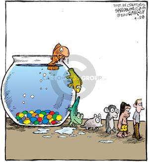 No caption. (A fish crawls out of a fish bowl at the end of a line of animals showing the progression of evolution).