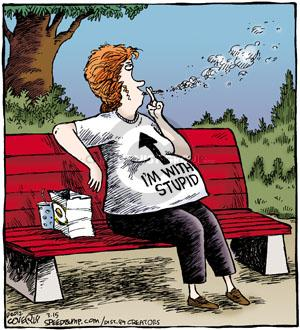 "(No caption. A pregnant woman is seen smoking while wearing a shirt that reads, ""Im with stupid."" and has an arrow pointing up.)"