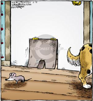 """No caption.  (Image of a """"mouse door"""" inset into a """"doggie door"""" with the mouse seen having come through it.)"""
