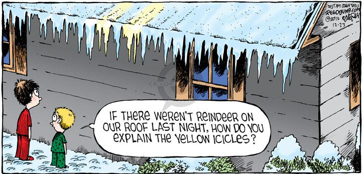 If there werent reindeer on our roof last night, how do you explain the yellow icicles?