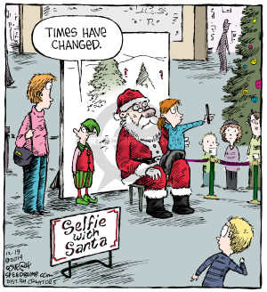 Times have changed. Selfie with Santa.