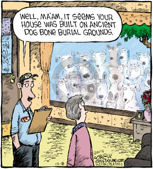 Well, maam, it seems your house was built on ancient dog bone burial grounds.