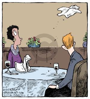 No caption. (A diners napkin swan flies away).