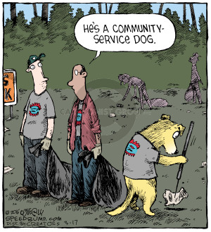 Hes a community-service dog.