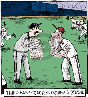 Third base coaches during a brawl.