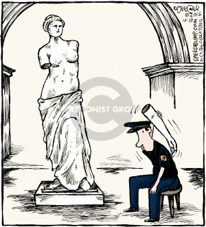 No caption (A museum security guard is using an arm from the Venus De Milo statue to scratch his back).
