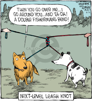 Then you go over me … I go around you … and ta-da! A double fishermans bend! Next-level leash knot.