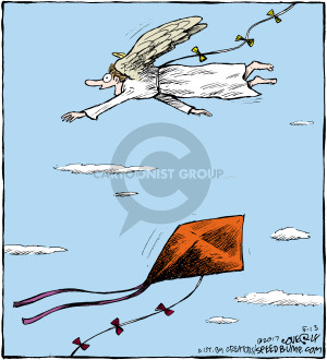 No caption (An angel flies above a kite. Both have the same type of string coming off of them as a tail).