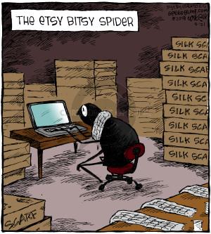 The Etsy Bitsy Spider. Silk scarf.