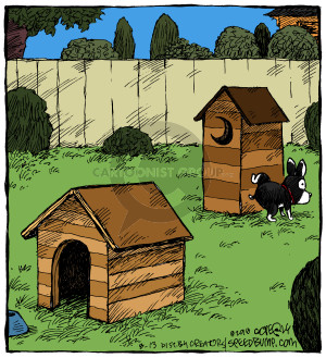 No caption (A dog lifts his leg on an outhouse set up behind a doghouse).
