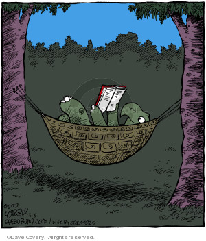 No caption (A turtle reclines in a hammock made from his shell as he reads a book).