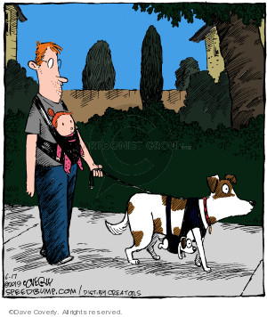 No caption (A man wearing a baby in a sling over his chest walks a dog also wearing her pup in a sling).