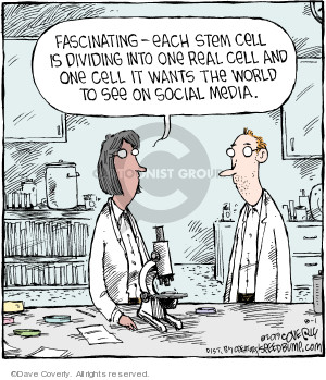Fascinating - each stem cell is dividing into one real cell and one cell it wants the world to see on social media.
