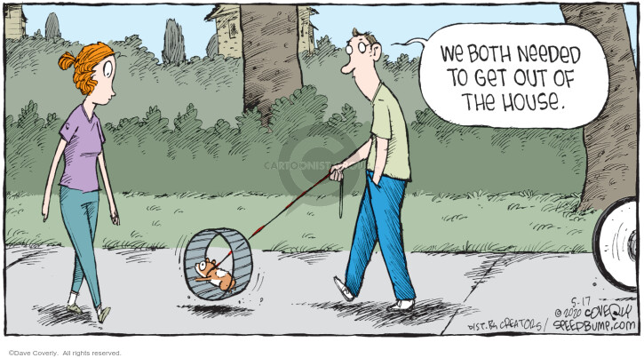 Cartoonist Dave Coverly  Speed Bump 2020-05-17 social distancing