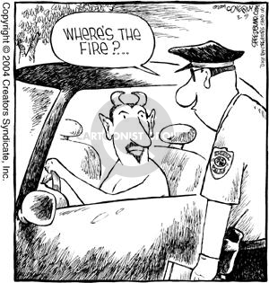 Cartoonist Dave Coverly  Speed Bump 2004-03-09 fire safety
