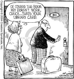 Of course the room key doesn't work, Chuck … Thats your library card.