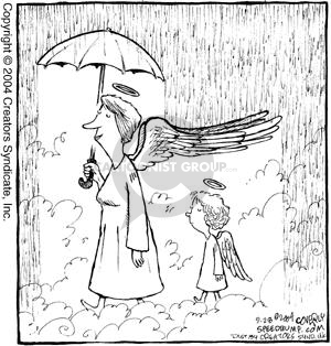 No caption.  (Woman angel walks while it rains in heaven.  She shields herself with an umbrella and her wings block the rain from hitting a child angel who walks behind her.)