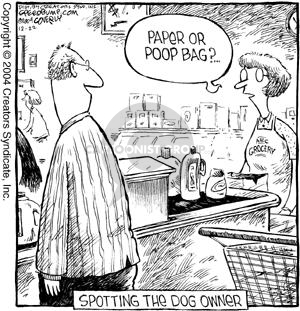 Paper of poop bag?  Spotting the dog owner.