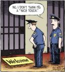 Cartoonist Dave Coverly  Speed Bump 2012-07-12 guard