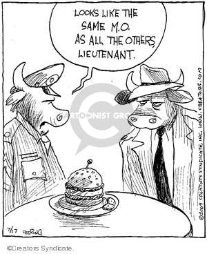 Cartoonist John Deering  Strange Brew 2009-07-17 hamburger