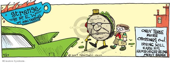 Cartoonist John Deering  Strange Brew 2009-09-27 hamburger