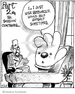 Cartoonist John Deering  Strange Brew 2010-02-23 hamburger