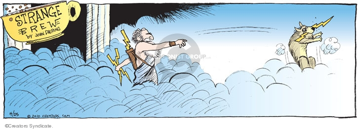 No caption. (A deity throws out a dog with a bolt of lightning in its mouth).