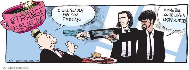 Cartoonist John Deering  Strange Brew 2010-07-11 hamburger